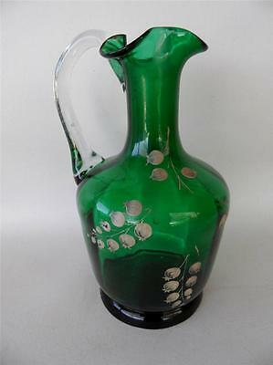 Antique Green Art Glass Decanter Base Jug Vase Hand Painted