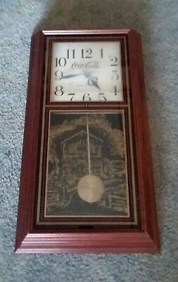 Vintage Coca Cola Hanover Pendulum Clock with old country store etching