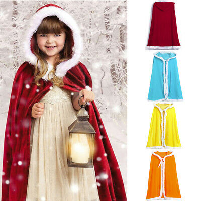 Kids Boy Girl Child Christmas Costume Santa Hooded Cloak Cape Cappa Cosplay Robe