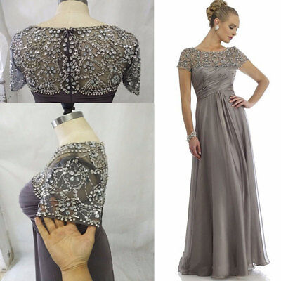 NEW Rhinestones Beading Mother of the Bride Full Length Dress Short Sleeves Gown