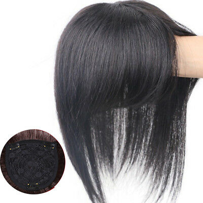 Women Girl Real Human Hair Topper Toupee Clip Hairpiece Lace Top Wig 20/ 25/30cm