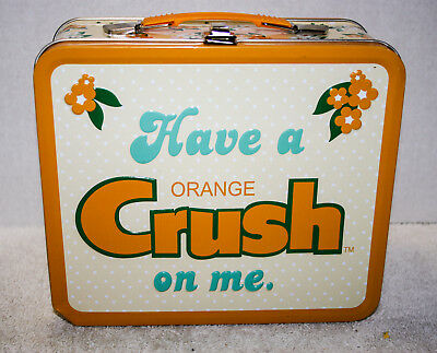 Orange Crush Metal Lunch Box Lunchbox Pail