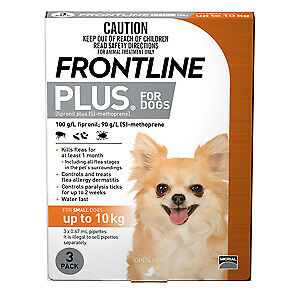 Frontline Plus for Dogs ORANGE up to 10kgs NEW STOCK  ALL SIZES