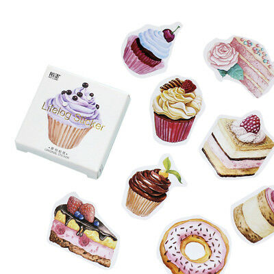 45Pcs Sweet Cake Dessert Food Paper Stickers for DIY Scrapbooking Decor Crafts