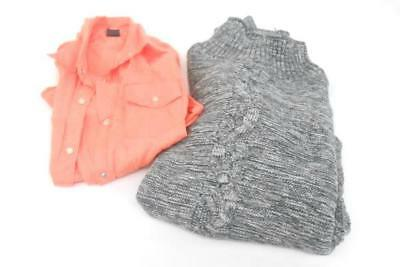 Lot of 2 Women's Size M Gap Button Up Blouse Chunky Sweater