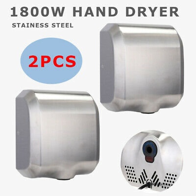 2 Pack High Speed Commercial Automatic Eco Heavy Duty Stainless Steel Hand Dryer