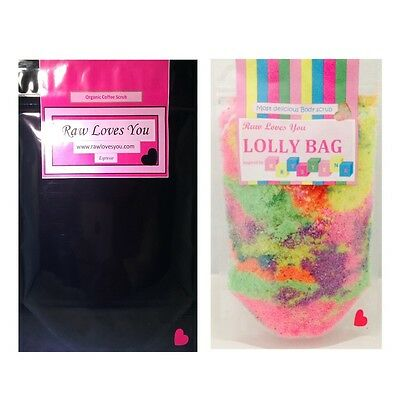 2 X Scrubs Body SCRUBS Coffee Scrub & Lollybag Frank Natural ---SALE ---