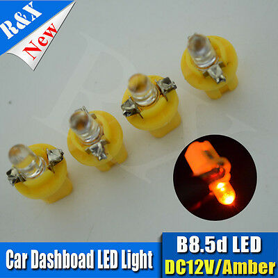 10x B8.5D T5 Gauge LED Speedo Wedge Dashboard Dash Car Light Bulbs Amber 12V UK