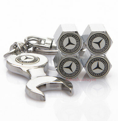 Car Accessories Tire Valve Caps Valve Covers Wrench Keychain For Mercedes-Benz