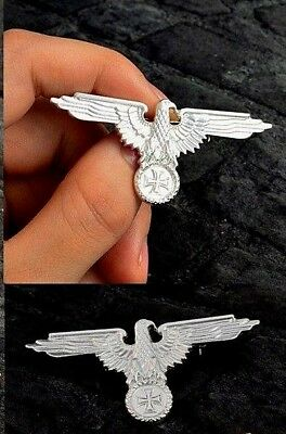 GERMAN PERCHED EAGLE CAP SILVER NEW BADGE WW2  WEHRMACHT STYLE with IRON CROSS