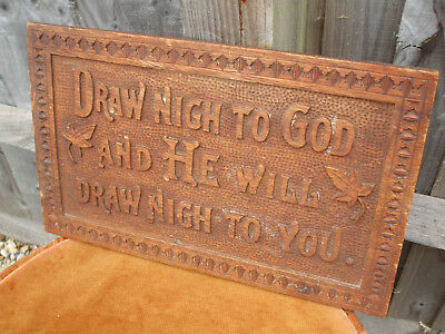 Antique carved oak Arts and Crafts motto plaque, very charming Victorian piece
