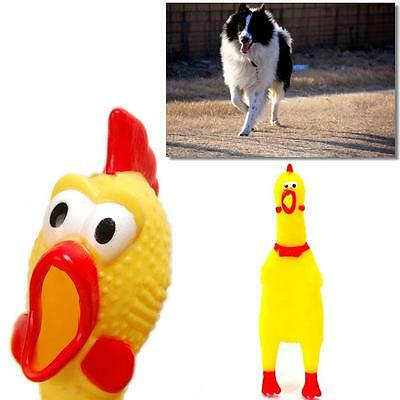 Best Screaming Yellow Rubber Chicken Pet Dog Toy Squeak Chew Gift small Size GA