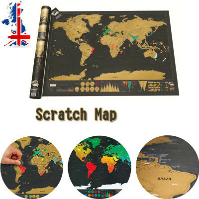 Small Scratch Off World Map Deluxe Edition Travel Log Journal Poster Wall Decore