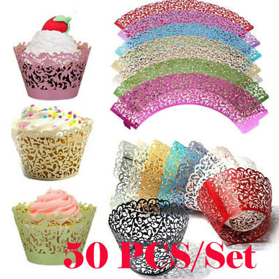 50pcs Cupcake Wrappers Filigree Vine Lace Cup Wrap Liners Wedding Party Decor CA
