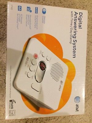 AT&T 1740 Digital Answering System With Time and Day Stamp White Brand New