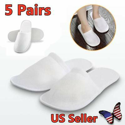 5 Pairs White Towelling Closed Toe Hotel Slippers Spa Shoes Disposable US Seller