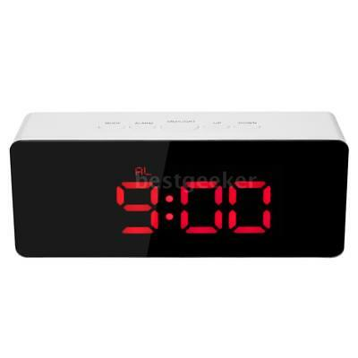 LED Digital Mirror Clock USB  Battery Operated 12H/24H °C/°F Display Alarm A9M8
