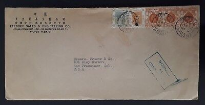 RARE 1941 Hong Kong Censor Cover ties 5 KGV and KGVI stamps canc Victoria to USA