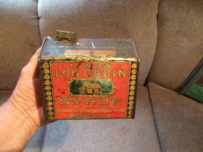 Vintage Towles Log Cabin Maple Syrup Tin Can
