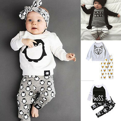 Newborn Baby Boys T-shirt Hoodies Tops Pants + Trousers Toddler Outfit Set 0-24M