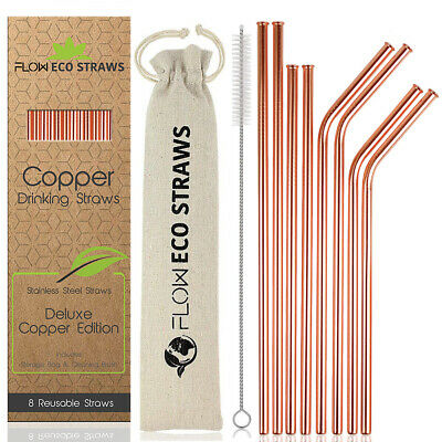 Copper Drinking Straws Reusable Steel Bar, Drinks, Cocktail Stirrer Eco Friendly