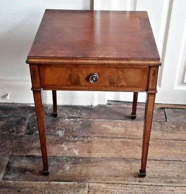Antique Sheraton Revival Inlaid Mahogany Side Table Satinwood & Ebony Stringing