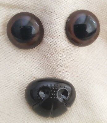 Small Set - Brown Safety Eyes & Nose for Teddy Bear Dog Cat Animal Stuffed Toys