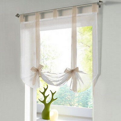 1pc Tab Top Sheer Kitchen Balcony Window Curtain Voile Liftable Roman Blinds