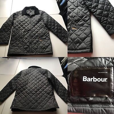 Barbour Men's  Liddesdale Black Quilted Jacket Coat Corduroy Collar Medium EUC