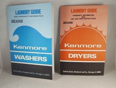 VTG Sears Kenmore Laundry Guide Washer & Dryer Use Care Manual Washers Dryers
