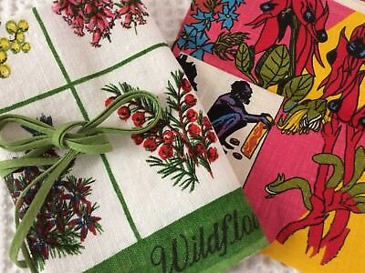 Set of Vintage Tea Towel & Floral Apron Weatern Australia n Australian Flowers