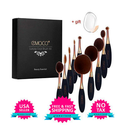 10 Pcs Oval Makeup Brush Set Contour Soft Toothbrush Cream Concealer Brushes New