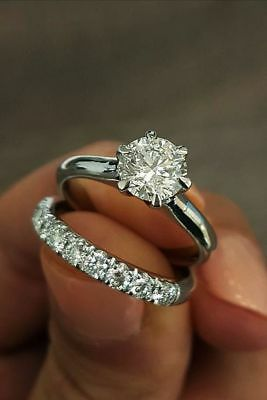 14K White Gold Certified 3CT Round Cut Diamond Solitaire Engagement Ring & Band