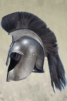 Medieval Greek Corinthian Trojan Helmet with Black Plume Armor Knight with stand