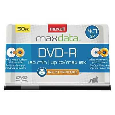 MAXELL 638022 DVD-RDiscs,Printable,Spindle,50,PK50