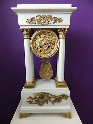 French Portico Mantle Clock Museum Quality 58cm Tall Solid White Marble Cir 1880