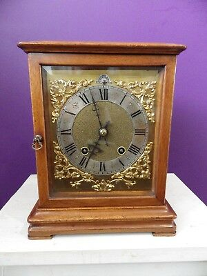 German Ting Tang Mahogany Mantle Clock By RSM Wooden Rod Pendulum Top Quality