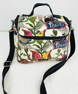 Sakroots Artist Circle Crossbody Cooler Insulated Lunch Box Bag Birds  Peace