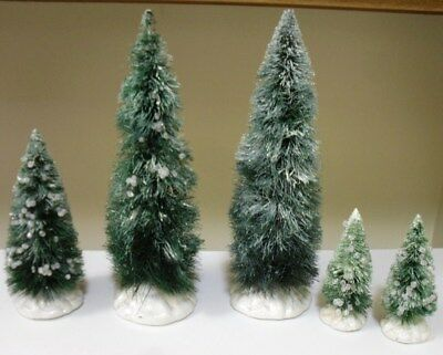 5 Vintage Lemax Icy Bottle Brush Pine Trees For Village-Christmas