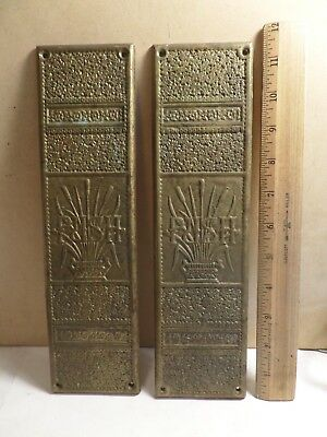 2 Antique Brass Door Push Plates