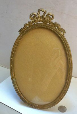 """ANTIQUE STERN BROTHERS BRONZE OVAL 8 1/2"""" PICTURE FRAME Easel Back"""