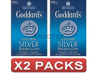 "Goddards Silver Jewellery Polish Cleaning Clean Cloth Large 12"" x 17"" 2 Packs"