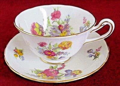 Royal Chelsea Spring Flower Iris Cup and Saucer Gold Trim Fine Bone China Englan
