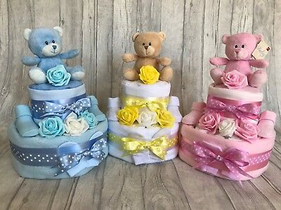 Beautiful Nappy Cakes - 2 Tier Girl / Boy / Unisex - Baby Shower / New Baby Gift