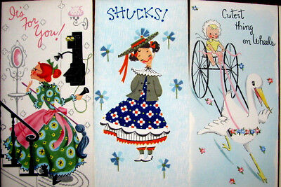 Lot Of 7 Unused All Occasion Vintage Greeting Cards Lady On Phone Shy Girl Baby