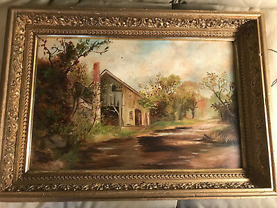 "Large Antique ""Home Exterior And Landscape Scene"" Oil On Board Painting - Framed"
