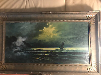 "Large Antique ""Sailboat In Moonlight Scene"" Oil On Canvas Painting-Signed/Framed"