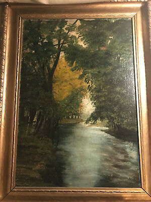 "Large Antique ""River And Landscape Scene"" Oil On Canvas Painting - Signed/Framed"
