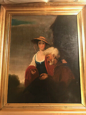 "Superb Large Antique  ""Man And Woman Scene"" Oil On Canvas Painting - Framed"