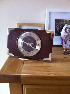 Vintage Mantle Clock Smiths Wood And Brass Working Perfectly Period Features